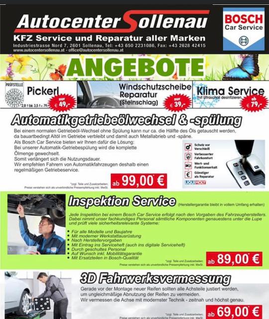 Angebot Autocenter Sollenau 2020-06-03